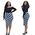 Fashion Women Retro Vintage Dress Elegant Lady Plaid Long Sleeve Pencil Dress Office Wear Sexy Bodycon Midi Dress Plus Size