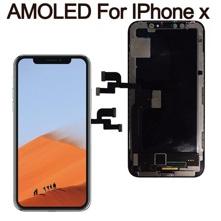 Grau Para o iphone X GX Para IPhone XS AMOLED LCD Display OLED oled OEM Tela Sensível Ao Toque Com Digitador Assembléia Substituição peças Preto