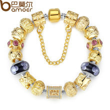 Bamoer Gold Plated Charm Bracelet & Bangle for Women With High Quality Multicolor Murano Glass Beads DIY Birthday Gift PA1811