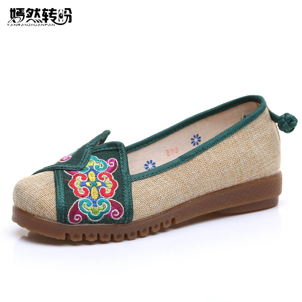 Women Shoes  Flats Chinese Vintage Old Beijing Women Hemp Embroidered Linen Canvas Flats Single Shoes Size 34-42 vintage women flats old beijing mary jane casual flower embroidered cloth soft canvas dance ballet shoes woman zapatos de mujer