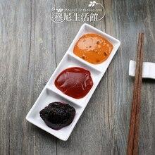 Split Singles rectangular ceramic Sukiyaki sauce for dipping dish flavored vinegar vegetable sushi