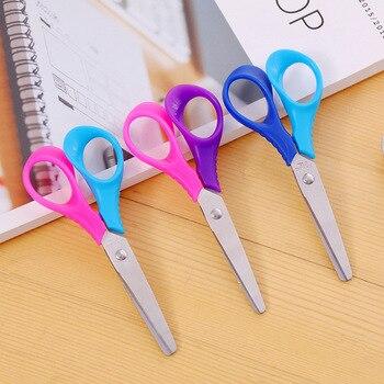 1 шт., Детские Мультяшные ножницы с круглой головкой, пластиковая бумага для ручных поделок, искусство для детского сада, дизайнерские канце...