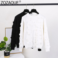 Fashion 3D Florals O Neck Long Sleeve Knit Sweaters for Women Knitted Pullovers Female Fall Winter Sweet Round Collar Pearl Top