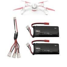Para hubsan h502s h502e rc quadcopter peças de reposição 2 pçs 7.4v 15c 610mah bateria & cabo carregamento conjunto