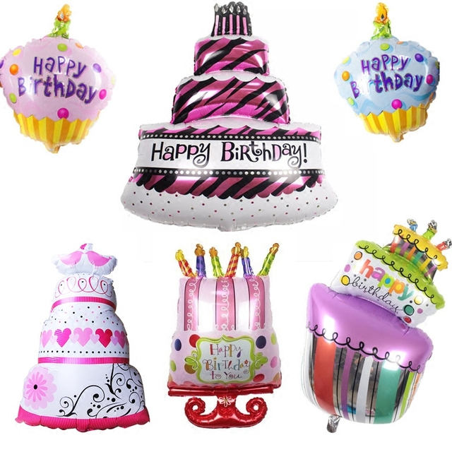 Big Size Cake Kids Happy Birthday Foil Balloons Decoration Large Cartoon One Baby Shower 1st Pink Blue Party Supplies Number 1