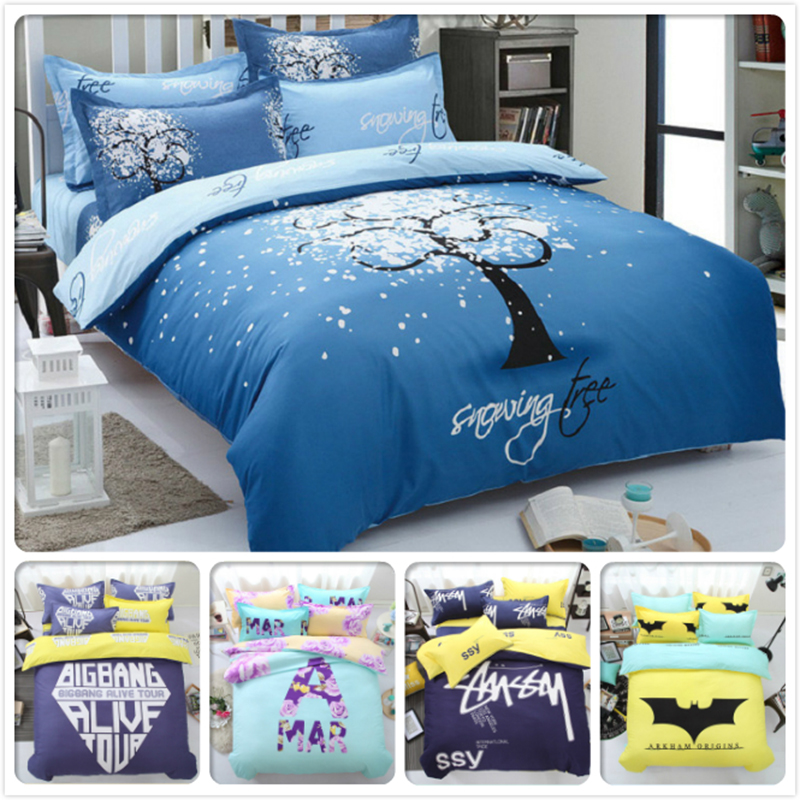 Blue Star Snow Tree AB Side Bedlinens 4pcs Bedding Set King Queen Twin Double Size Duvet Cover 1.5m 1.8m 2m Bed Sheet Bedclothes