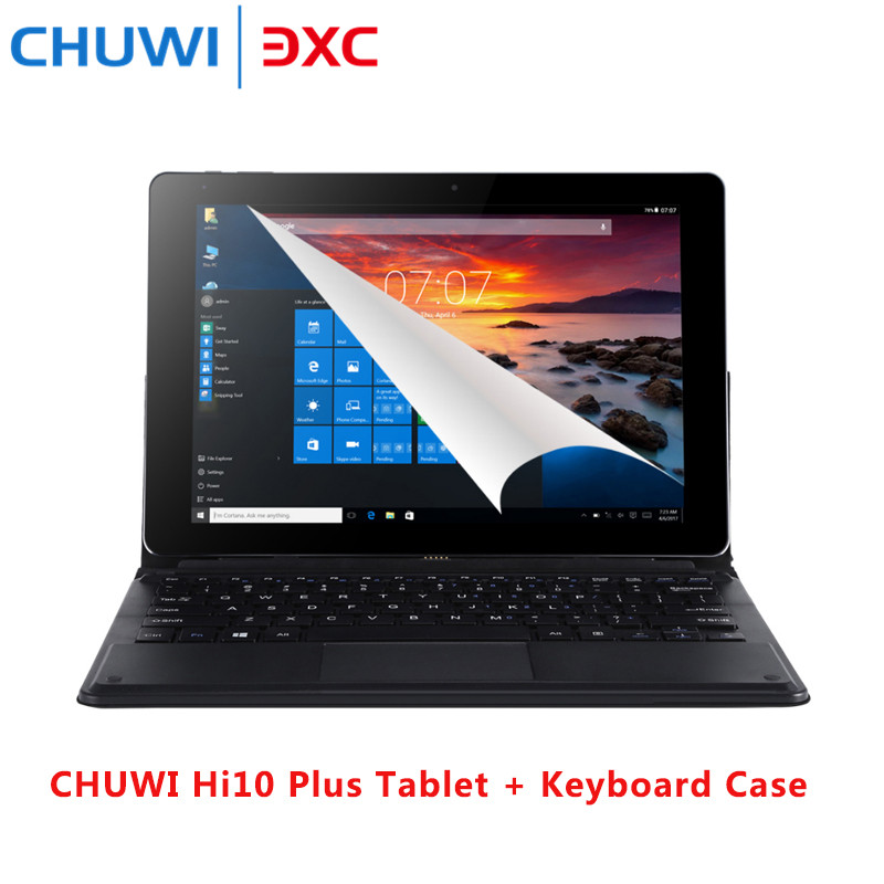 CHUWI Hi10 Plus Tablet PC Keyboard Windows10 Android5.1 10.8' IPS Screen Intel Cherry Trail X5 Z8350 Quad Core 1.44GHz 4GB 64GB