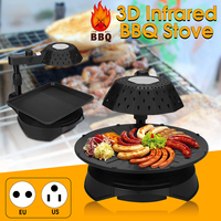 3D 110V/220V US/EU Plug Infrared Electric Smokeless BBQ Grill Stove Barbecue Kebab Roaster Non Stick Cycle Heating Adjustment