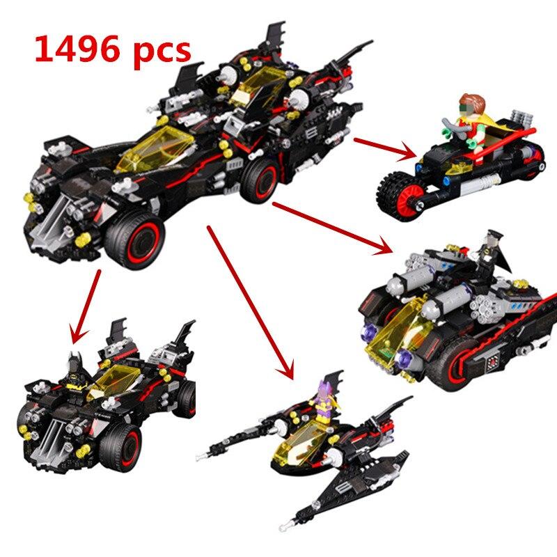 New Lepin LegoINGlys Batman 07077 Marvel Heroes Movie Ultimate Batmobile Building Blocks Bricks Toys Compatible 70917 Military