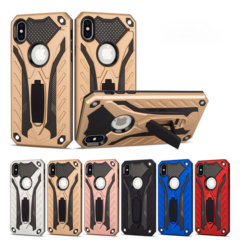 Luxury Shockproof Protection Silicon Phone Case For iphone X XS Max XR Armor Full Cover For iPhone 6 6s 8 7 Plus Kickstand Cases