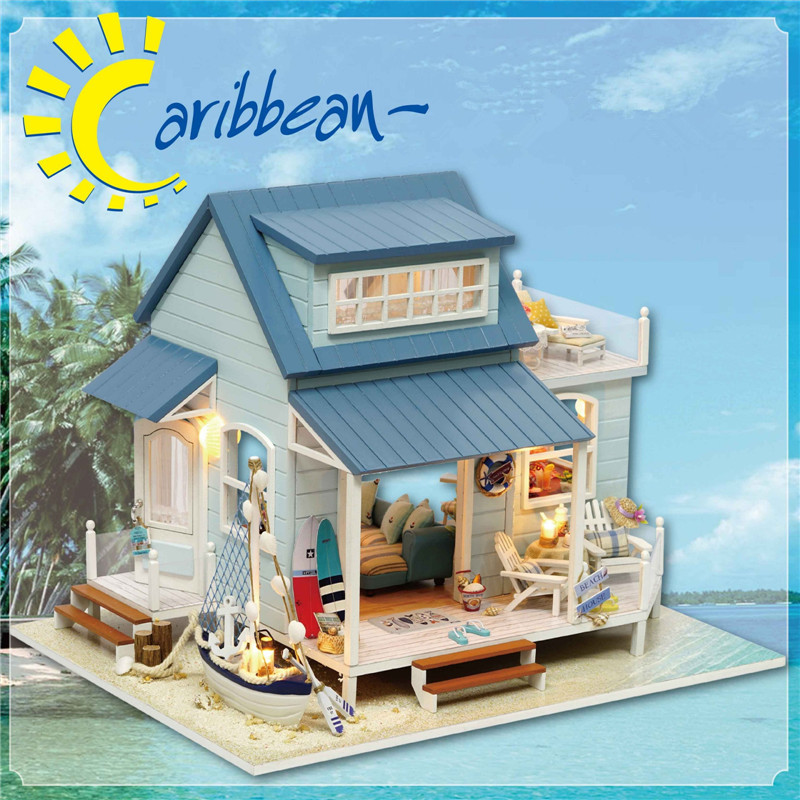 Sylvanian Families House for Dolls Diy Hut Caribbean Handcrafted Toy House Kids Toys Valentine Gift Wood Toy Juguetes Brinquedos