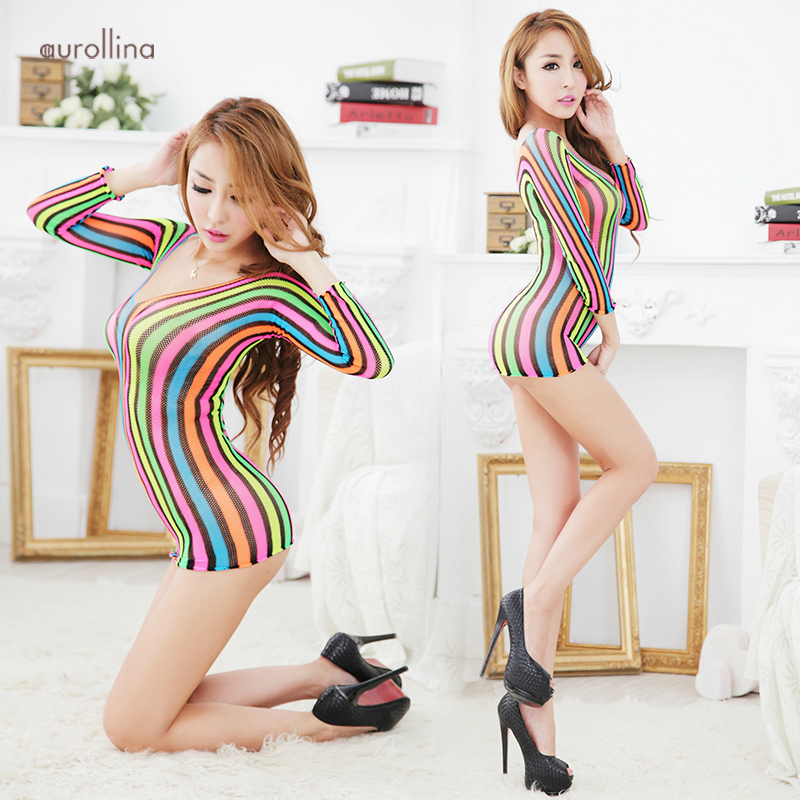 New Fashion Bodystocking Sexy Babydoll Lingerie Rainbow Dress Uniform