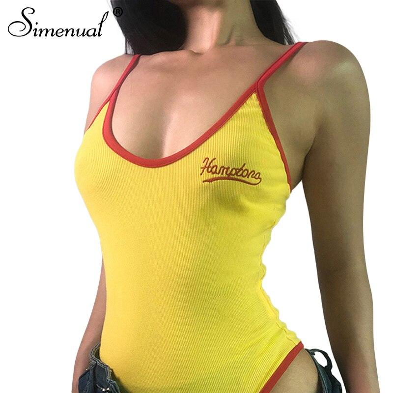 Simenual Letter embroidery yellow bodysuit women 2018 ringer sexy skinny body female clothes spaghetti strap summer bodysuits