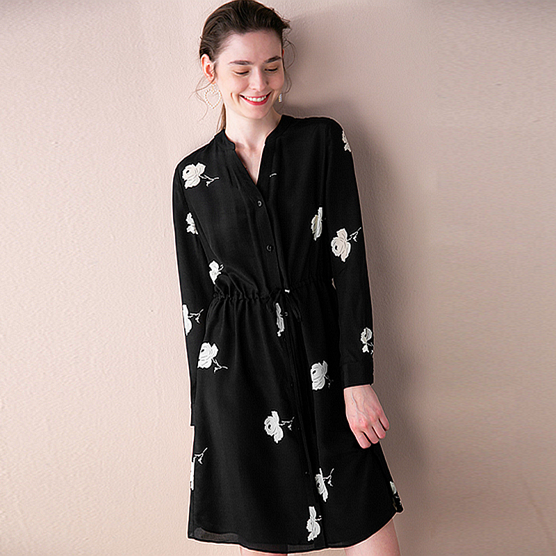 100% Silk Dress Women Printed Simple Design V Neck Sashes Long Sleeves Straight Dress New Fashion Style Spring 2019
