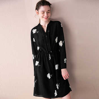 100% Silk Dress Women Printed Simple Design V Neck Sashes Long Sleeves Straight Dress New Fashion Style Spring 2019 - DISCOUNT ITEM  40% OFF All Category