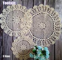Modern cotton round placemat cup coaster mug kitchen Christmas table place mat cloth lace Crochet tea coffee doily Handmade pad