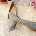Silver Round Toe Wedding Bridal Dress Shoes for Mom Rhinestone bridesmaid Shoes Party Ball Dancing Prom Shoes