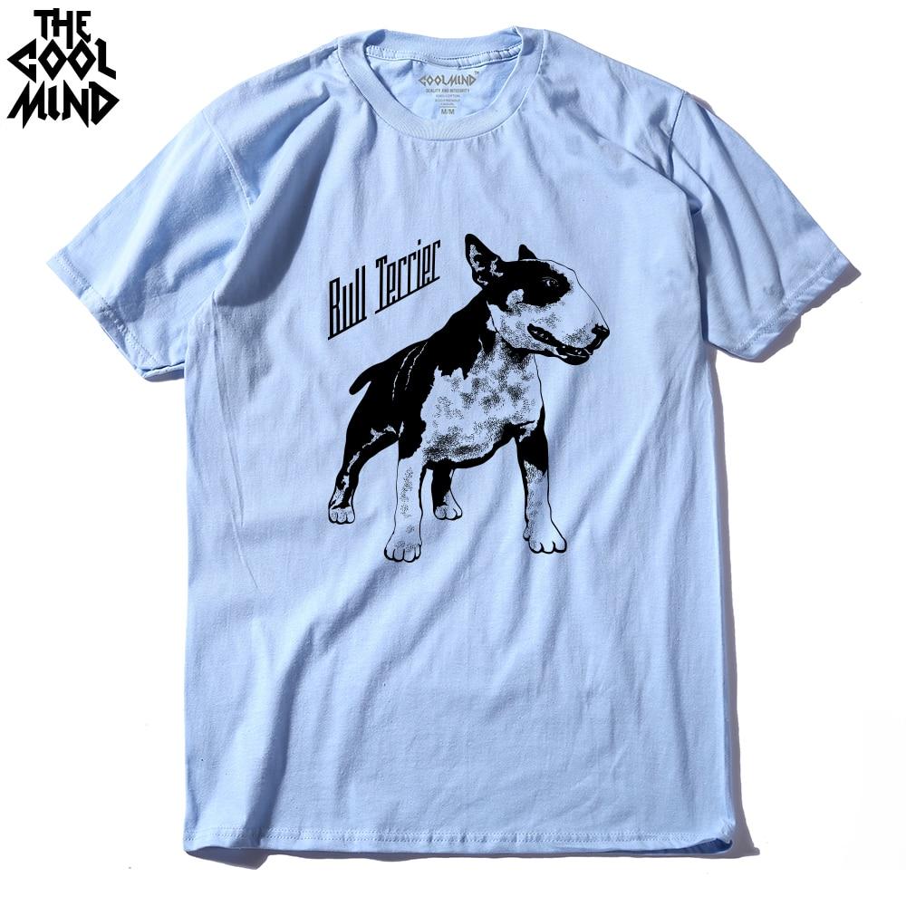 COOLMIND QI0118A Cotton tee shirt short sleeve bull terrier dog print men t-shirt casual cool o-neck t shirt summer male tshirt