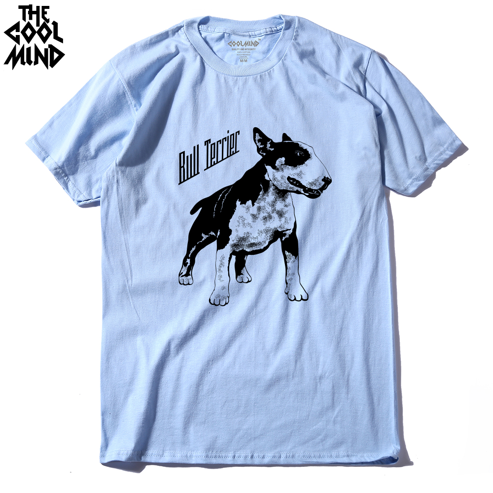 COOLMIND QI0118A Cotton Tee Shirt Short Sleeve Bull Terrier Dog Print Men T-shirt Casual Cool O-neck T Shirt Summer Male Tshirt