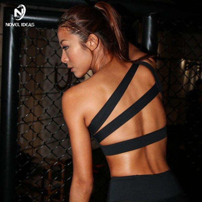 Novel ideas 2018 Oblique One Shoulder Womens Sport Bra Backless Sexy Yoga Bras Padded Running Underwear Fitness Bra Top clothes
