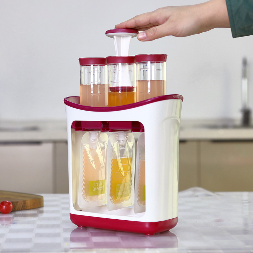 Baby Food Maker Set Squeeze Food Station Baby Food Organization Storage Containers Fruit Puree Packing Machine Juice Station