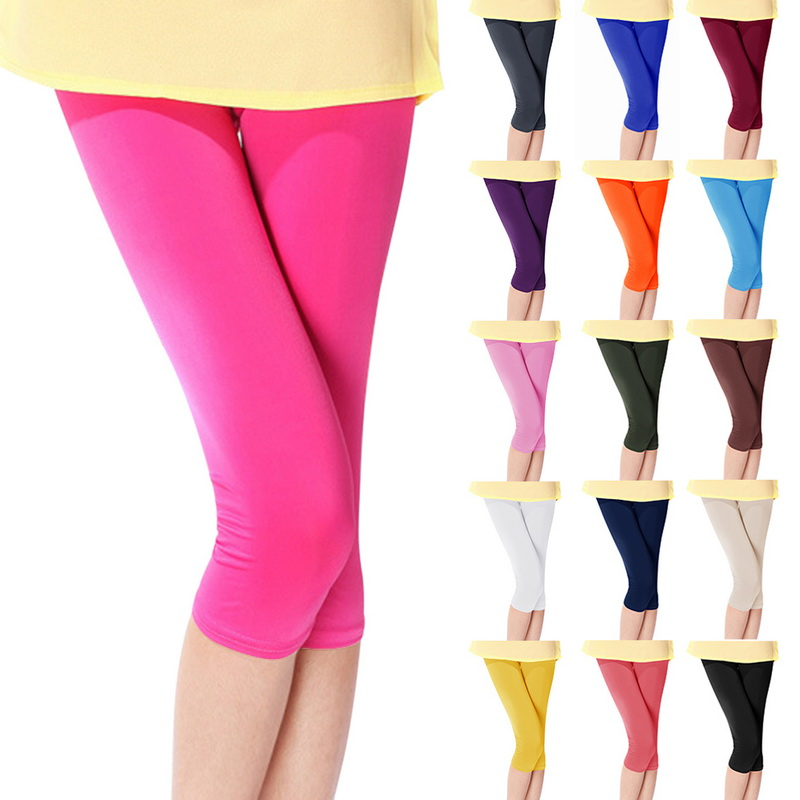 LITTHING 2019 Summer Style Candy Color Women Cropped Leggings Ice Silk Slim Thin 3/4 Length Lady Leggins High Elastic Pants Z25