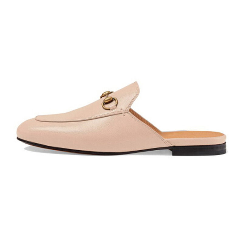 Top Quality Real Leather Pink Lovely Lady's Slippers Fashionable Baotou Women's Shoes Casual Buckle Shoes Slippers fashionable buckle and double zipper design casual shoes for men
