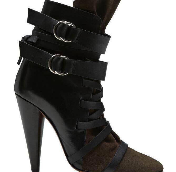 Autumn Winter boots pointed toe high spike heels ankle strap buckle decoration ankle boots narrow band women designer boots