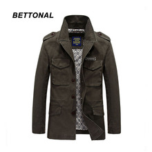 BETTONAL Autumn Winter Male Men Windbreaker Jacket trench coat Stand Collar Casual