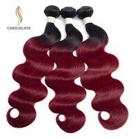 Ombre Color Body Wave Bundles 3pcs 1B/Burgundy Ombre Brazilian Hair Bundles Weave 99J Red Remy Human Hair Extensions