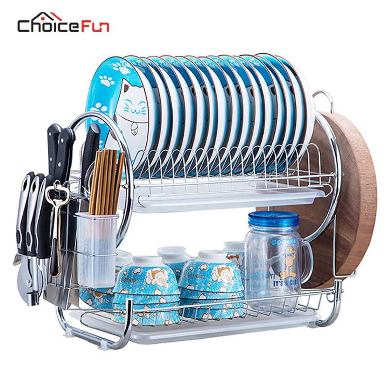 CHOICE FUN Kitchen 2 Tier Stainless Steel Dish Drying Rack Drainer Holder Cabinet Plate Cutlery Cup Dish Rack With Drainboard