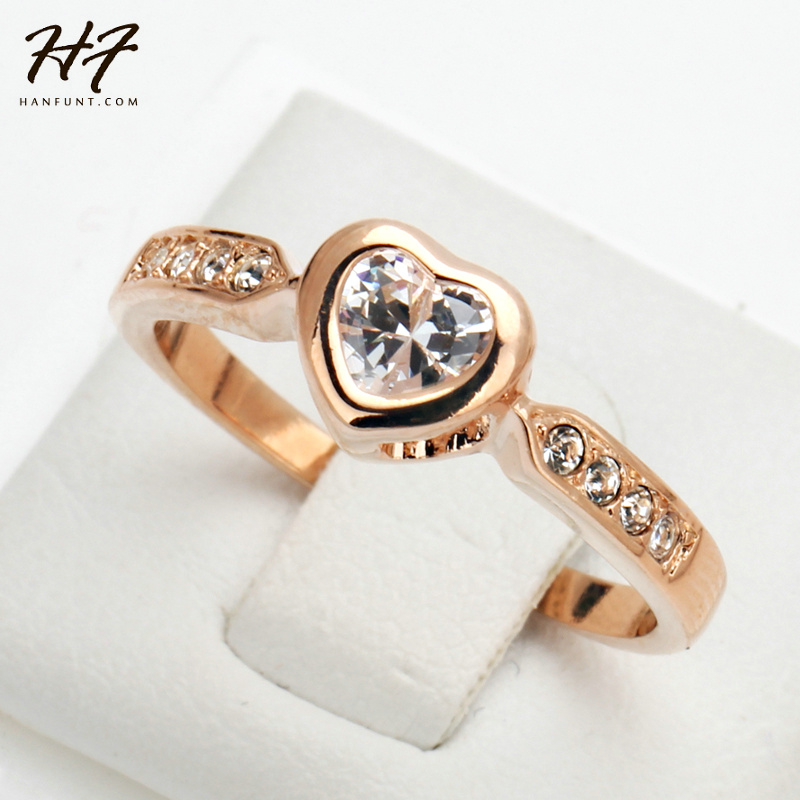 Heart Shape Crystal Ring Rose Gold Color Made with Genuine Austrian Crystals Full Sizes Wholesale R085
