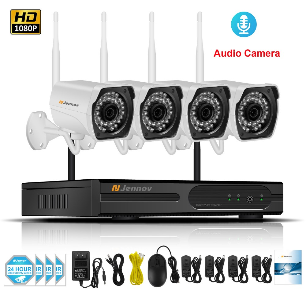 4CH 1080P 2MP Home Wireless Security CCTV IP Camera System Audio Record Video Outdoor Surveillance Kits Wi-fi Camera With NVR