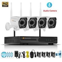 4CH 1080 P 2MP дома Беспроводной видеонаблюдения IP Камера Системы аудио запись видео наружного наблюдения Наборы Wi-Fi Камера с NVR