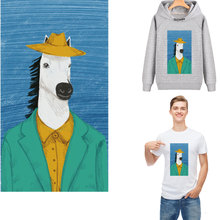 funny horse head man patch for clothing iron stickers heat transfer t-shirt hoodie diy accessory parches termoadhesivos ropa