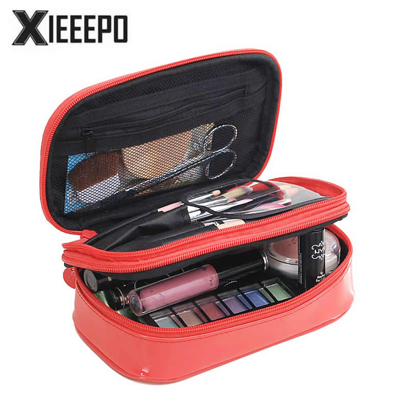 Women Luxury Travel Cosmetic Bag Professional Makeup Bag Organizer Case Beauty Necessary Make up Storage Beautician Wash Box black professional makeup cosmetic storage train case box trays aluminum organizer artist hiker draws