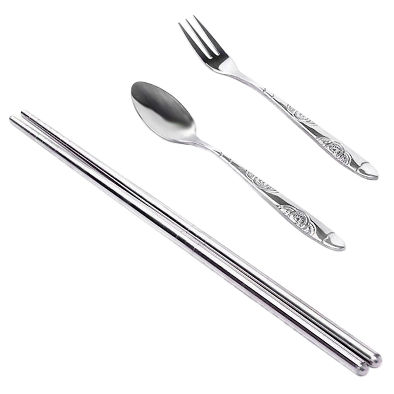 3pcs Outdoor Tableware Sanitary Stainless Steel Chopsticks Fork Spoon For Camping Hiking Travel Ultra-light Picnic Cutlery Set Sports & Entertainment