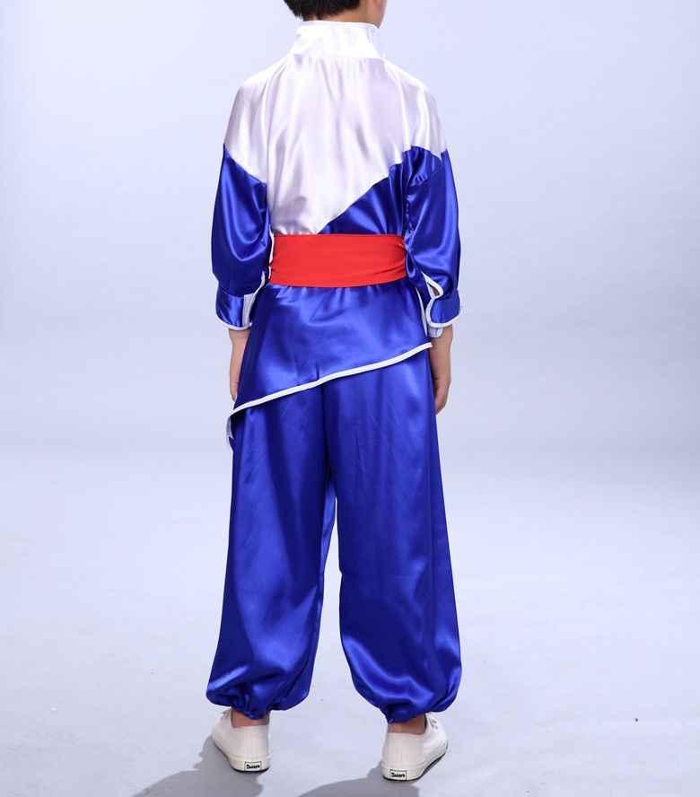 ユニセックス3カラー長袖キッズ&大人少林寺の僧侶刺繍ドラゴン衣装太一服カンフー武道の制服