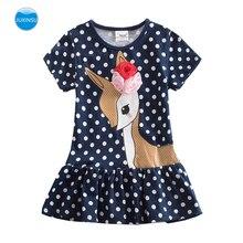 JUXINSU New Summer Little Deer Cartoon Polka Dot Girl Short Sleeve Dress Cotton Kids Dresses for Girls 1-8 Years