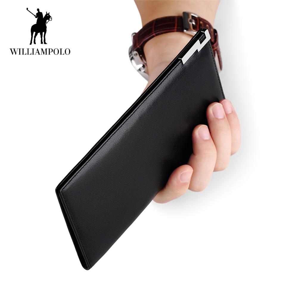 WilliamPOLO Brand Long Clutch Wallet Men Ultrathin Genuine Leather Credit Card Holder Organizer Bifold Handbag Multi Card Purse