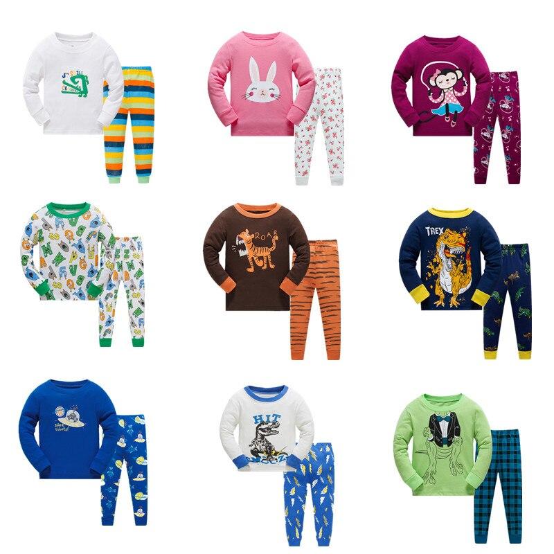 Promoção crianças pijamas conjunto crianças dos desenhos animados pijamas meninos casa pijamas meninas algodão doce animal pijamas 2-8 t pijamas