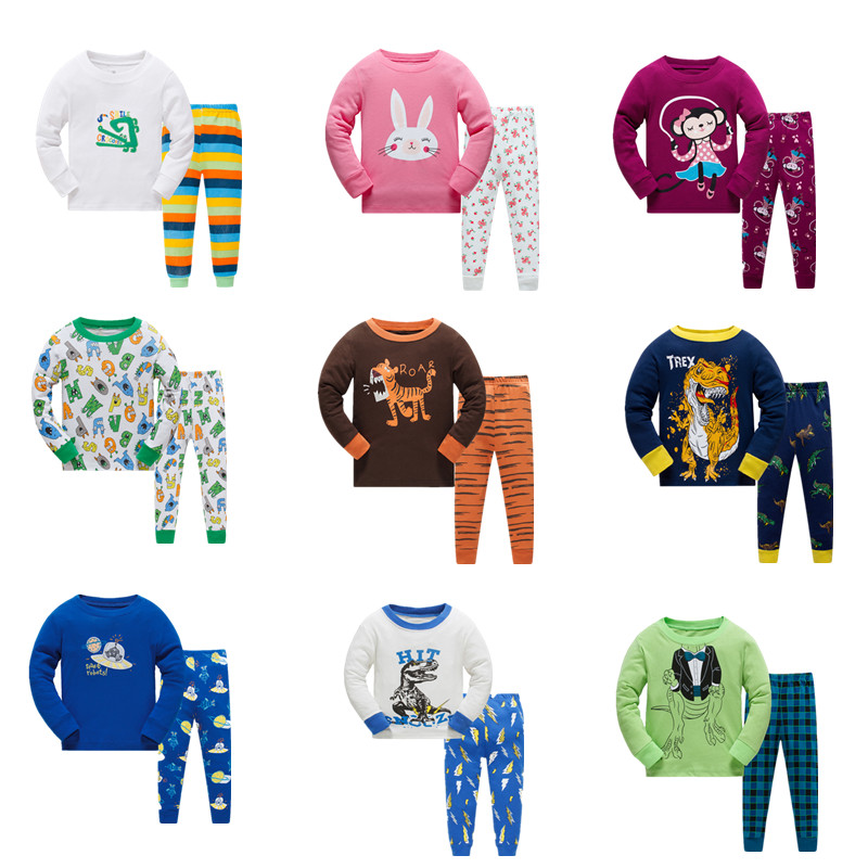 Promotion Children   pajamas     set   kids Cartoon sleepwear Boys Home   pajamas   girls cotton sweet animal pyjamas 2-8T nightwear