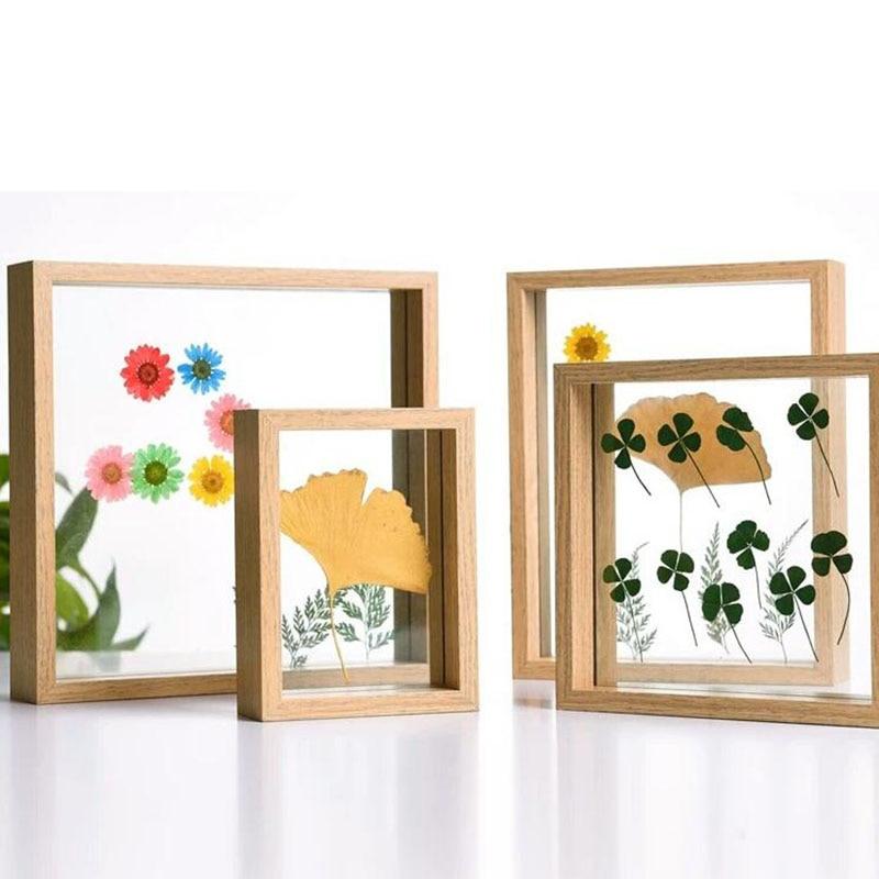 DIY Moldura De Vidro Criativo Two-sided Quadro Espécime Da Planta Da Flor de Papel cut-Foto Moldura de Mesa Decoração Da Sua Casa