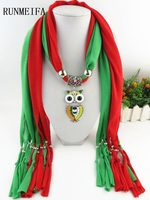 RUNMEIFA Fashion Woman Ladies Color Owl Pendant Scarf Jewellery Necklace Beads Life Trends