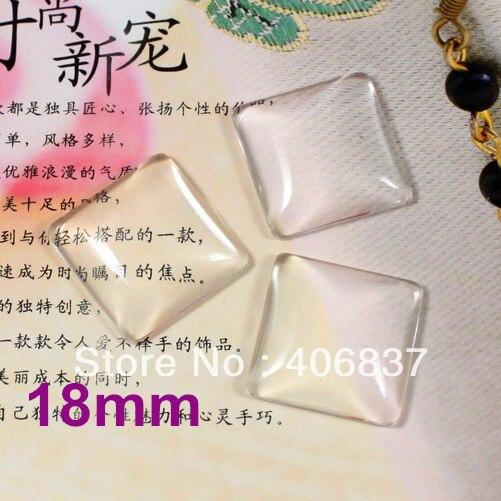 200pcs/Lot, Good Quality 18mm Dome <font><b>Square</b></font> Transparent Clear Magnifying Glass Cabochon