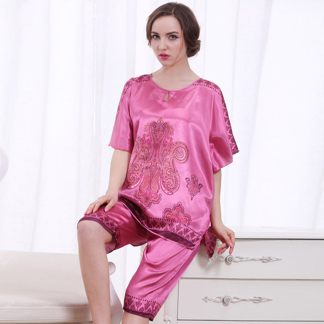 ... first rate 9086e aaca5 2PCS Women Pajama Sets Nightgown Sleepwear  Ladies Summer Nightdress Silk Sleep Shirt ... 706dc5a69
