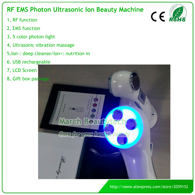 6 IN 1 Multifucntional Electroporation Mesotherapy +RF+EMS+Led Light Photon +Ion +Ultrasonic Face Beauty Care Massager 5 in 1 rechargeable rf ems electroporation mesotherapy galvanic skin cleaning ultrasonic led photon beauty home use device