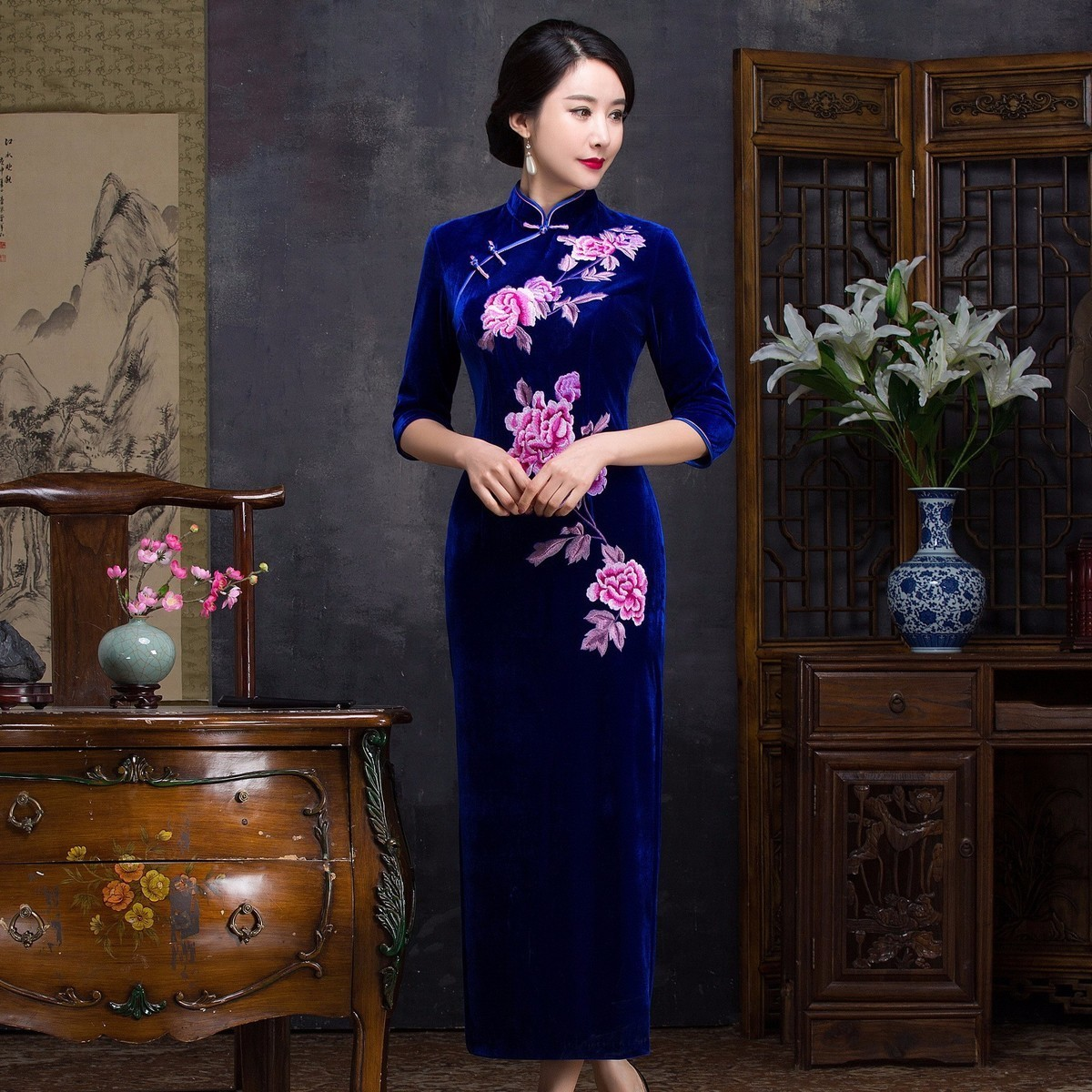 Black Wedding Gowns For Sale: Embroidered Traditional Formal Chinese Dress Vintage