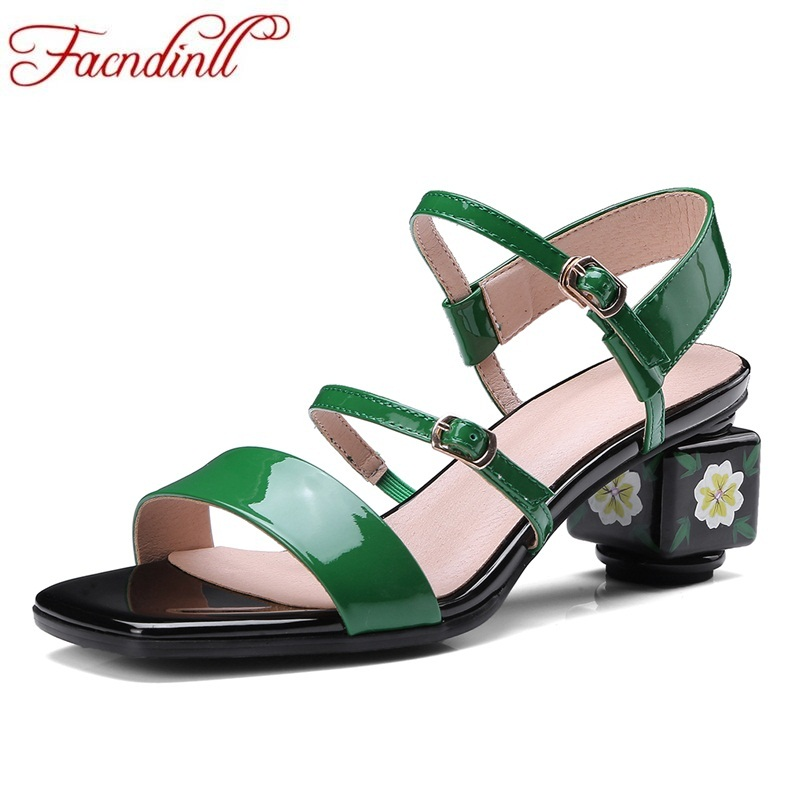 FACNDINLL hot sale fashion women sandals green patent leather high heels gladiator women shoes sandals dress date casual shoes facndinll genuine leather sandals for