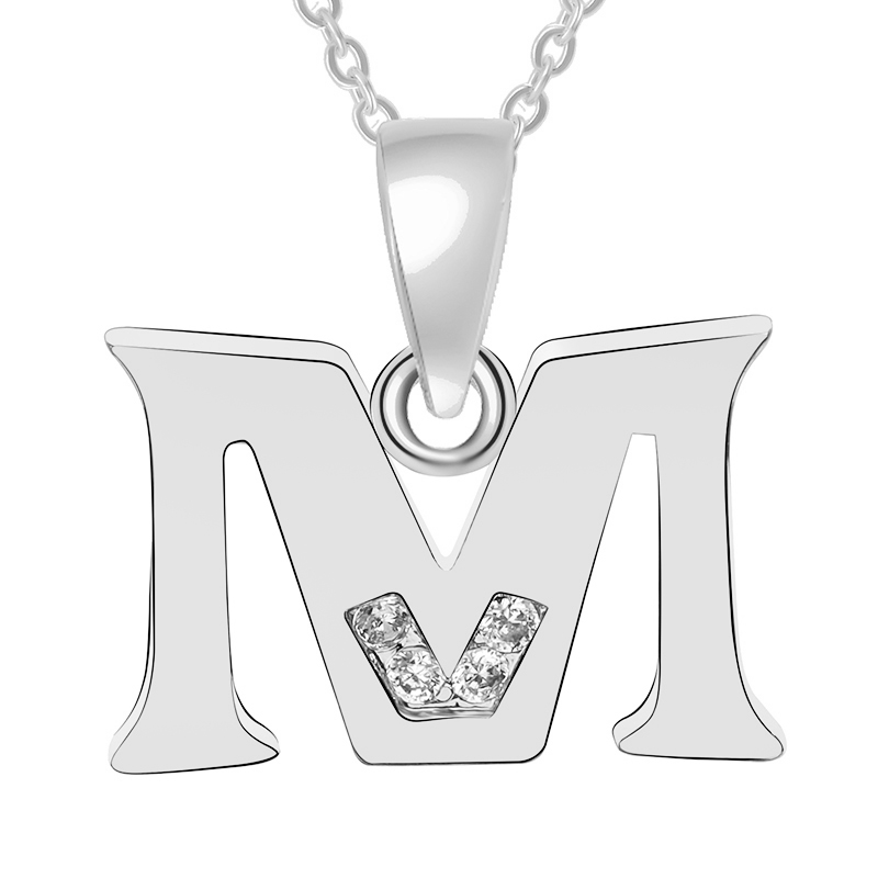 Fashion Trend Initial Alphabet A-Z Crystal Long Necklace For Women Shellhard Punk Rock Men Letter Pendant Silver Gold Chain Gift